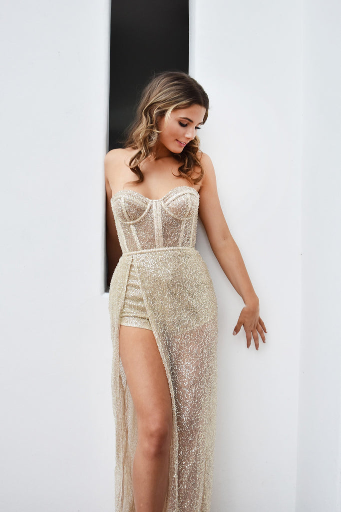 sexy champagne bustier gown
