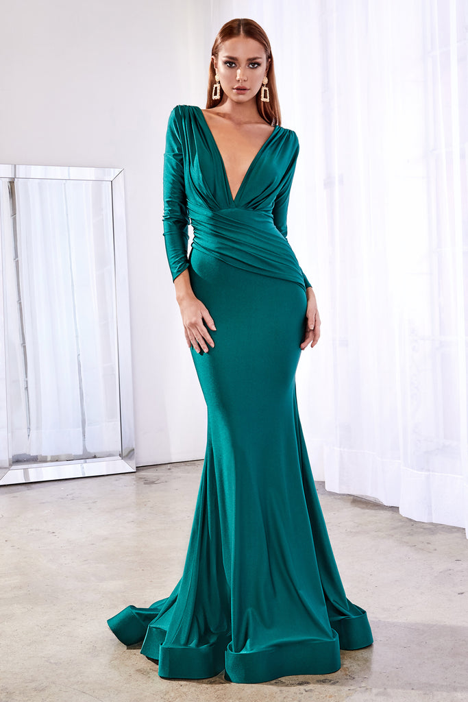 Emerald Long sleeve fitted stretch jersey gown