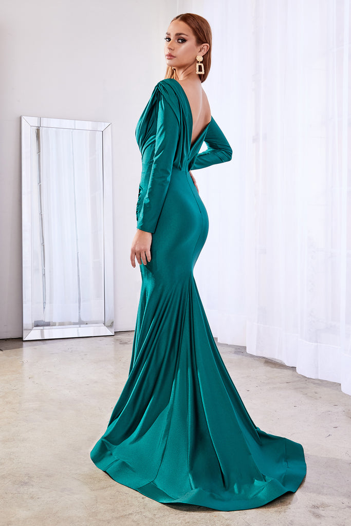 Green Long sleeve fitted stretch jersey gown