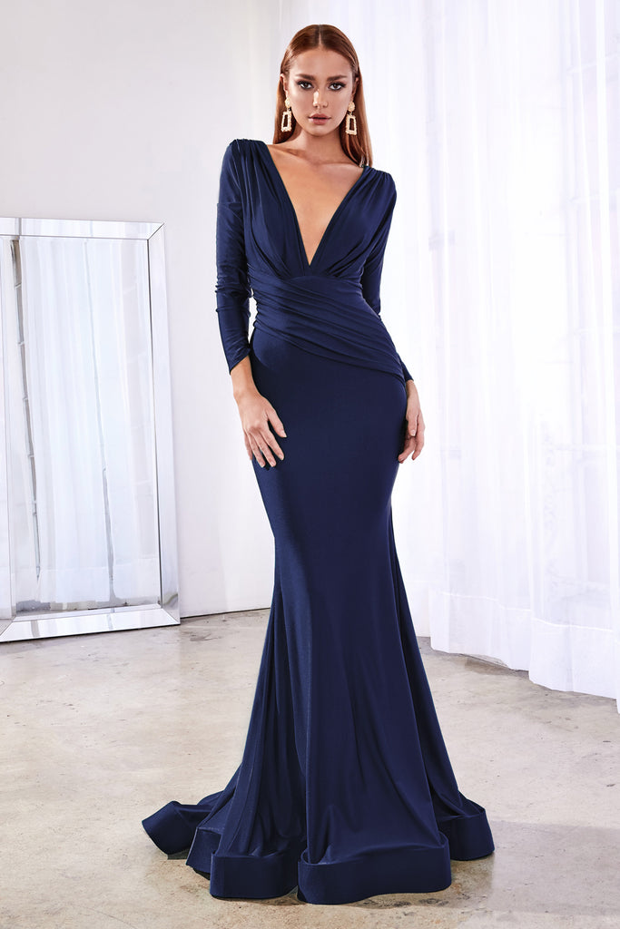 Navy Long sleeve fitted stretch jersey gown