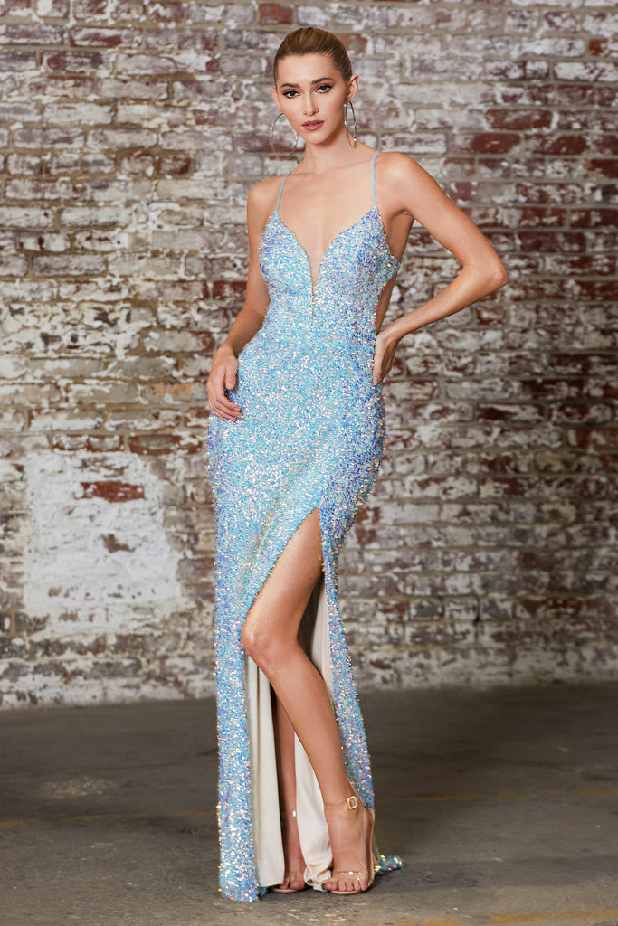 blue sequins prom dress new orleans