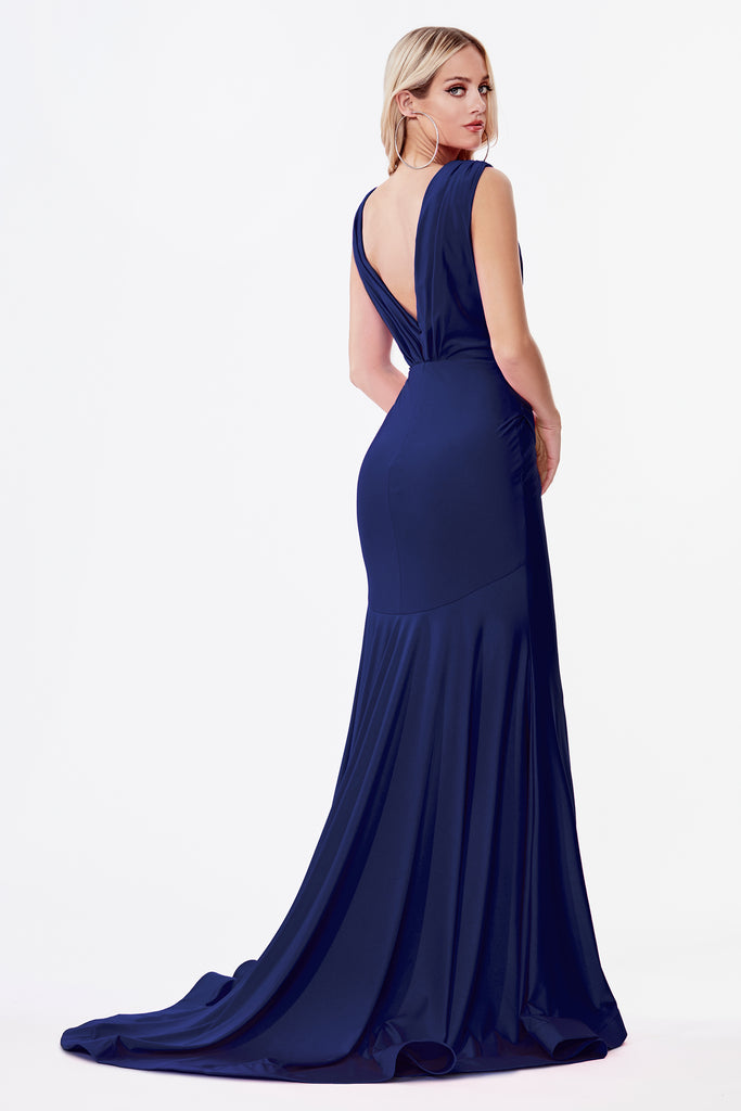 Fitted navy stretch evening gown