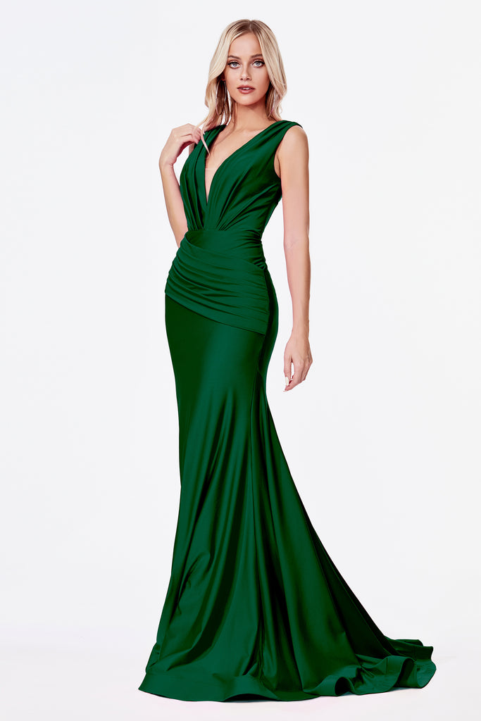 Fitted Emerald stretch evening gown