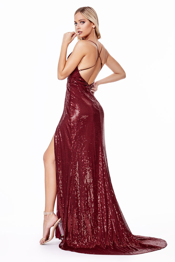 new york low back sequins prom dress