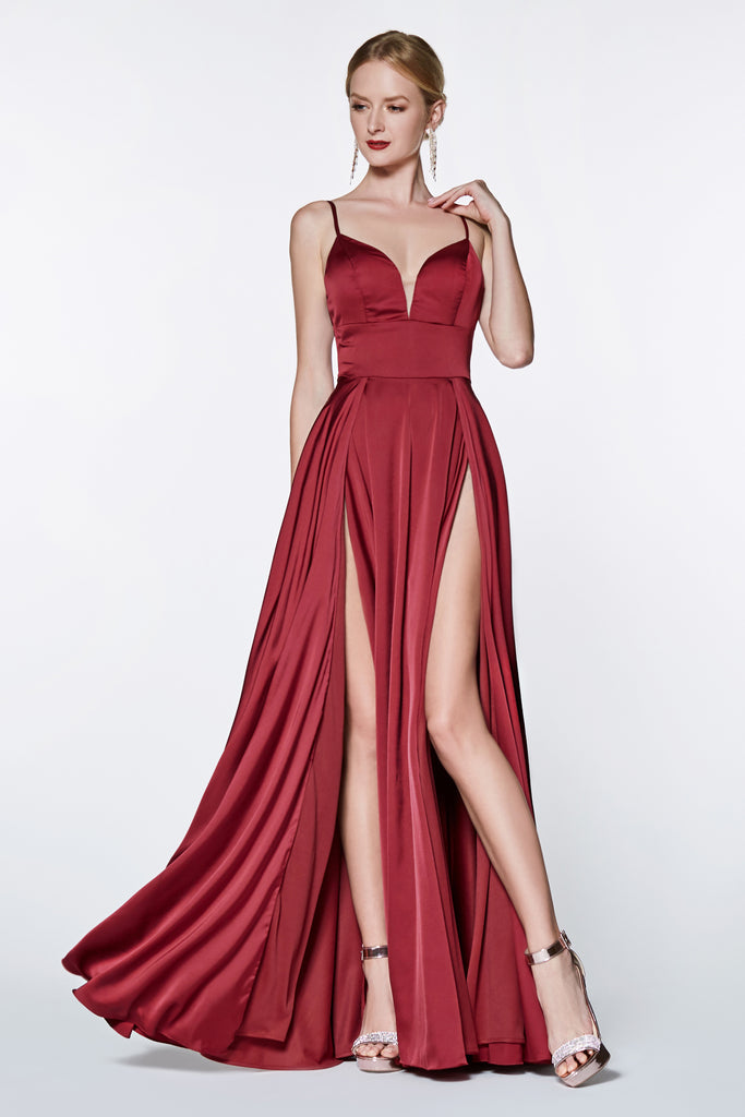 red satin dress double leg slit