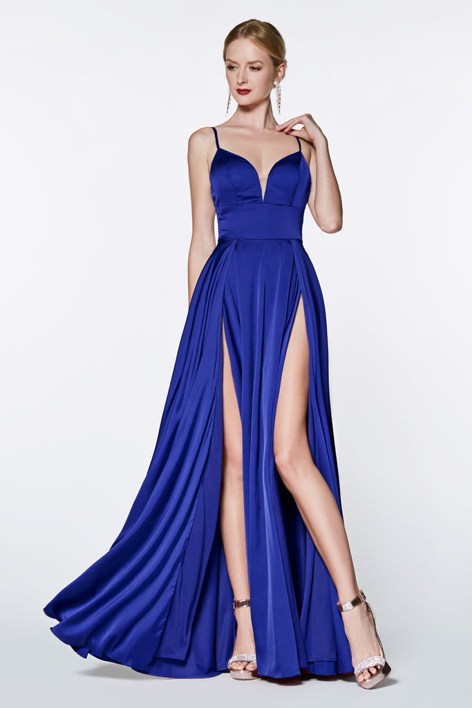 navy blue satin prom dress with double leg slit