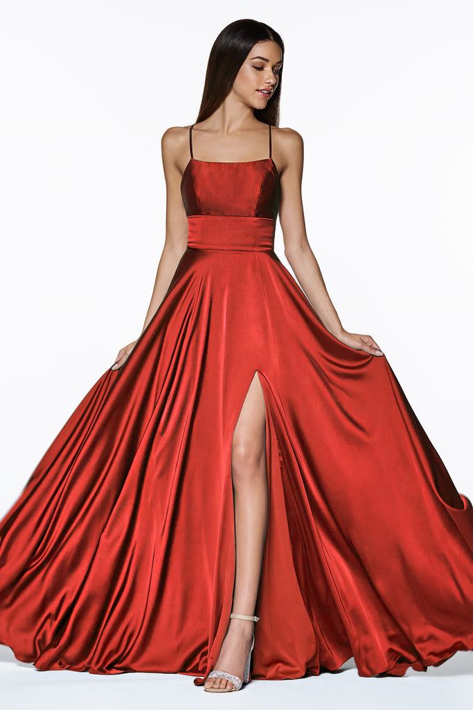 red satin prom dress with lace up back