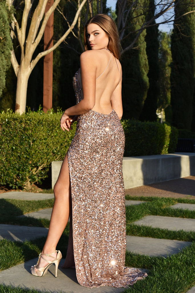 rene the label low back sequins prom dress