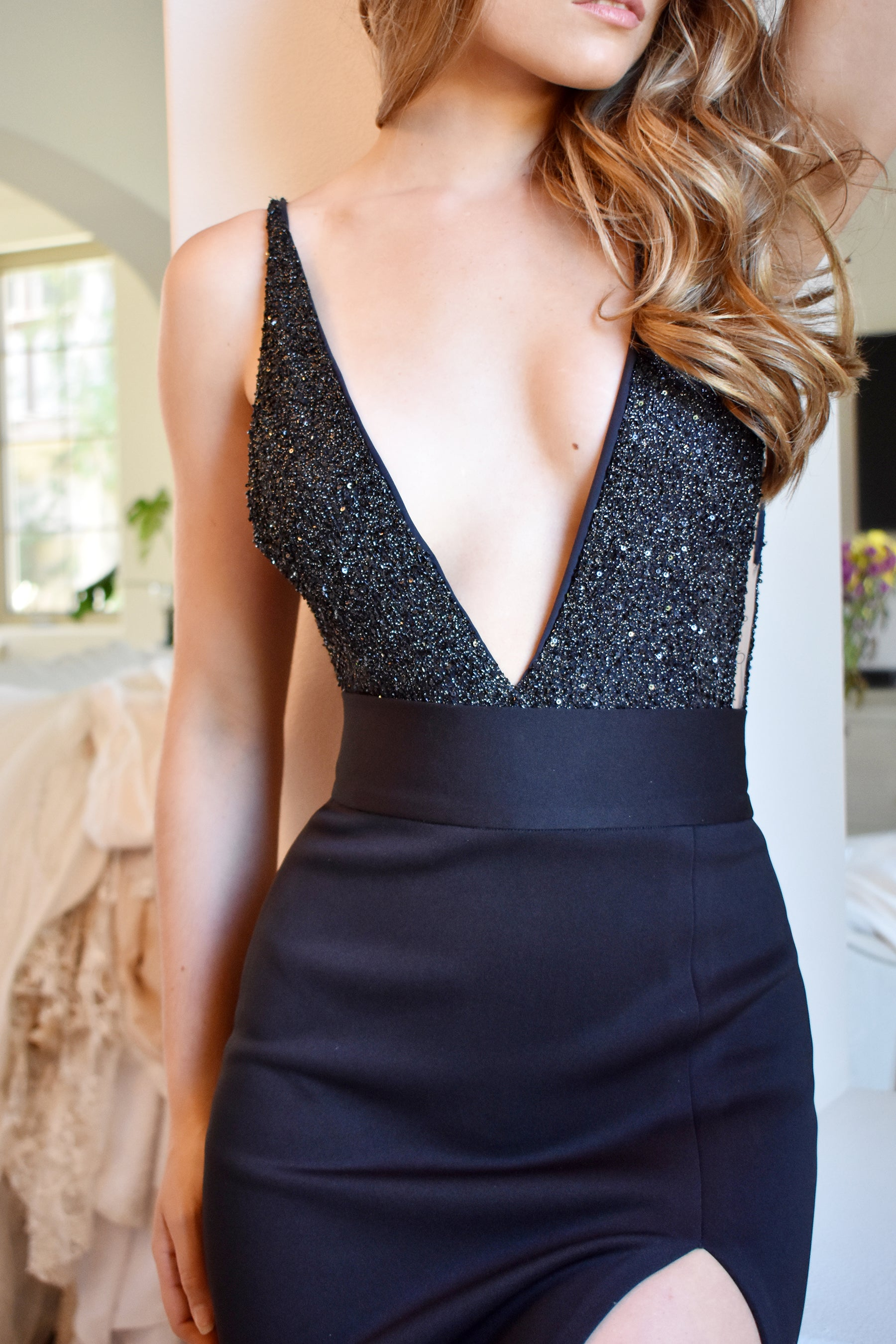 black beaded bodysuit rene the label