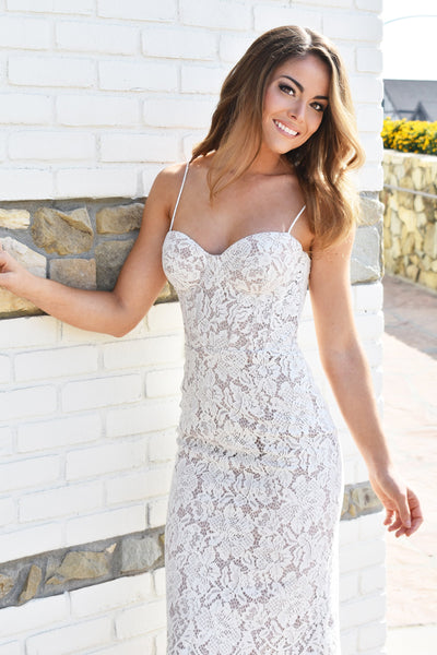 charlotte midi lace bustier dress