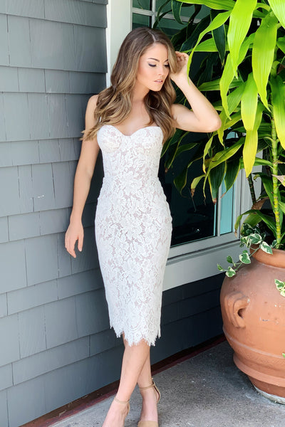 white lace bustier dress
