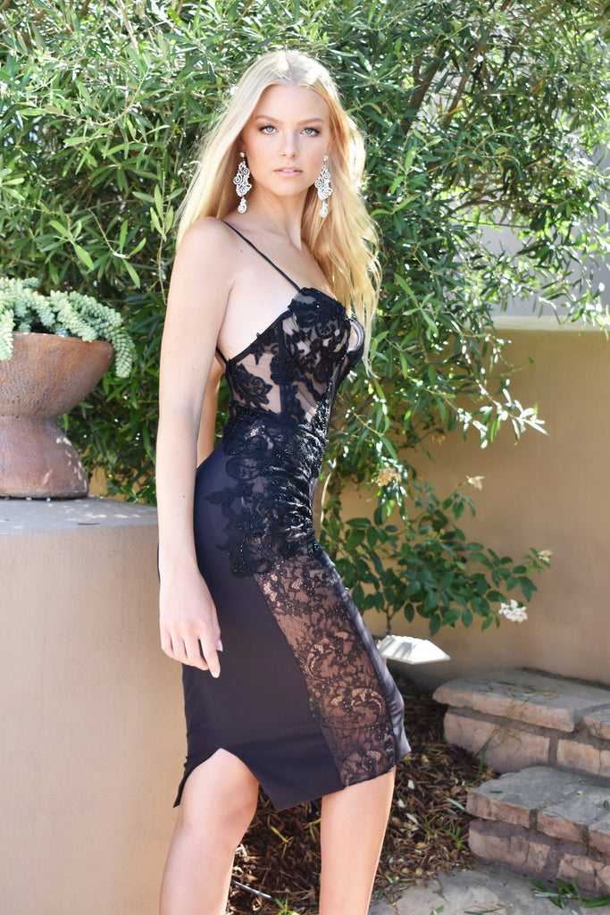 sexy black bustier cocktail dress