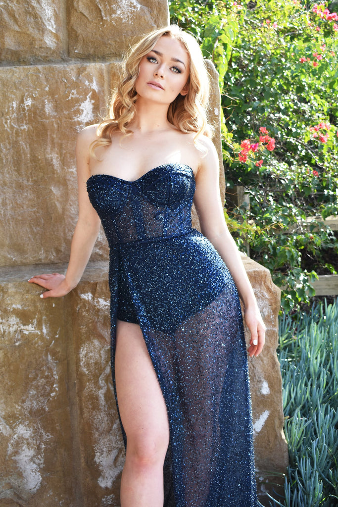 aurora navy blue beaded body suit