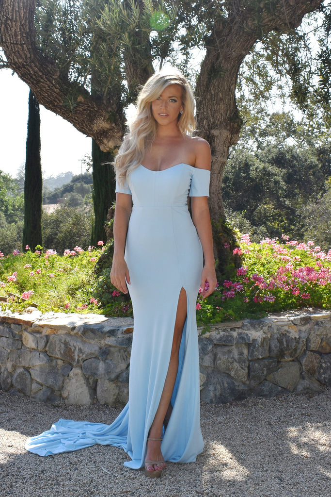 rene the label light blue off the shoulder dress