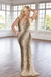 nude and gold beaded long dress