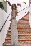 Rene atelier sheer silver sequin evening dress