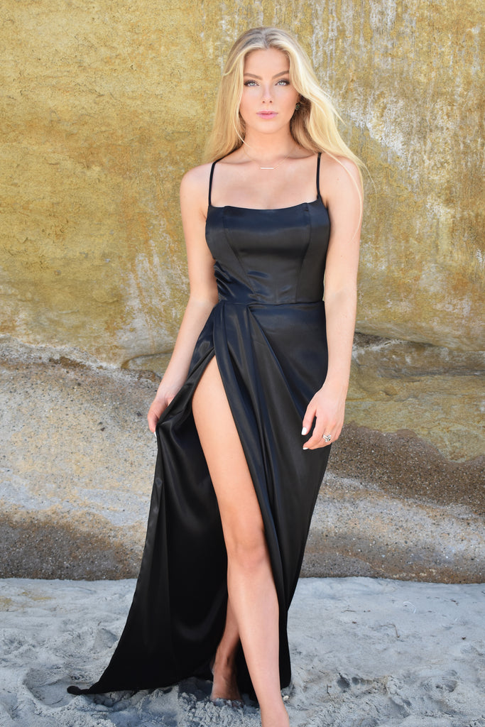 sexy black fitted satin dress