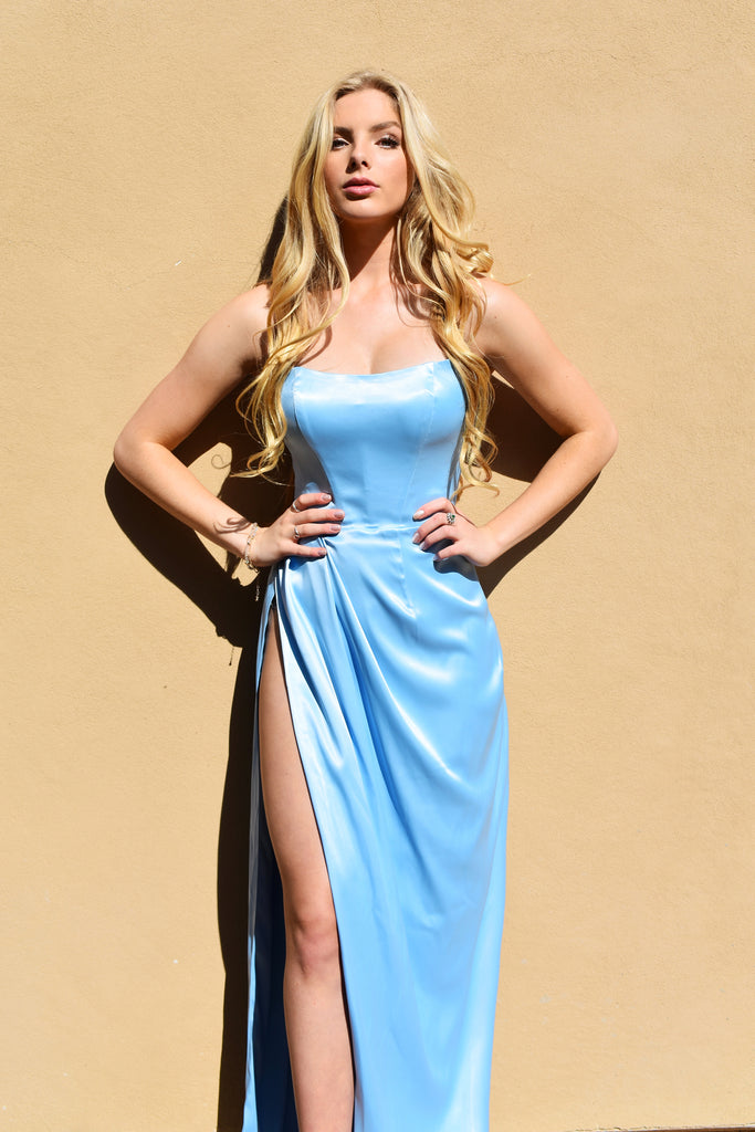 light blue satin prom dress