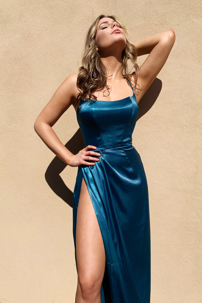 teal satin prom dress