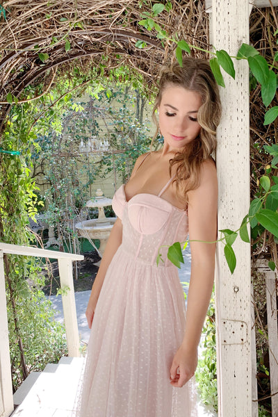 blush tulle prom dress