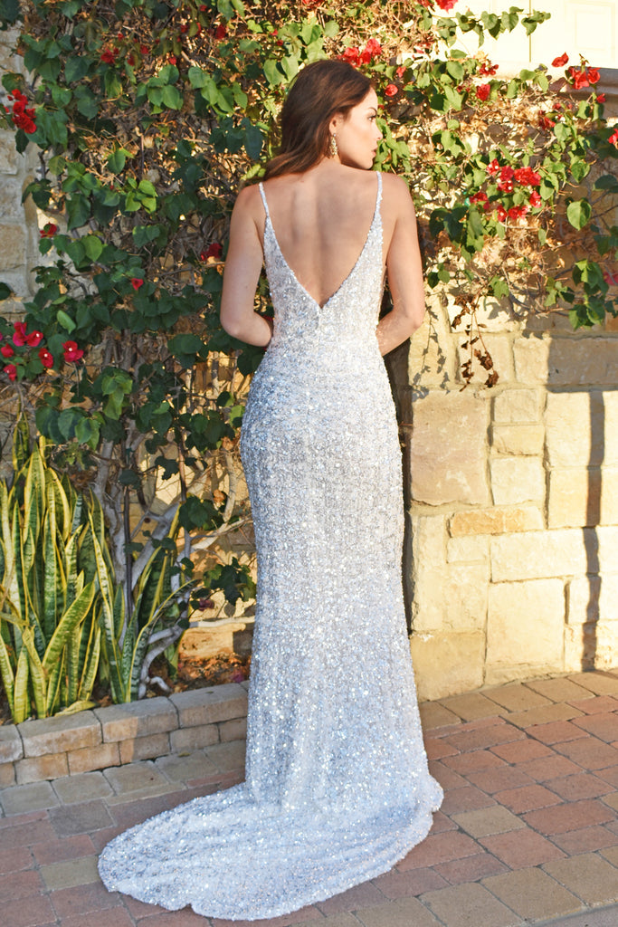 rene the label white low back sequins dress