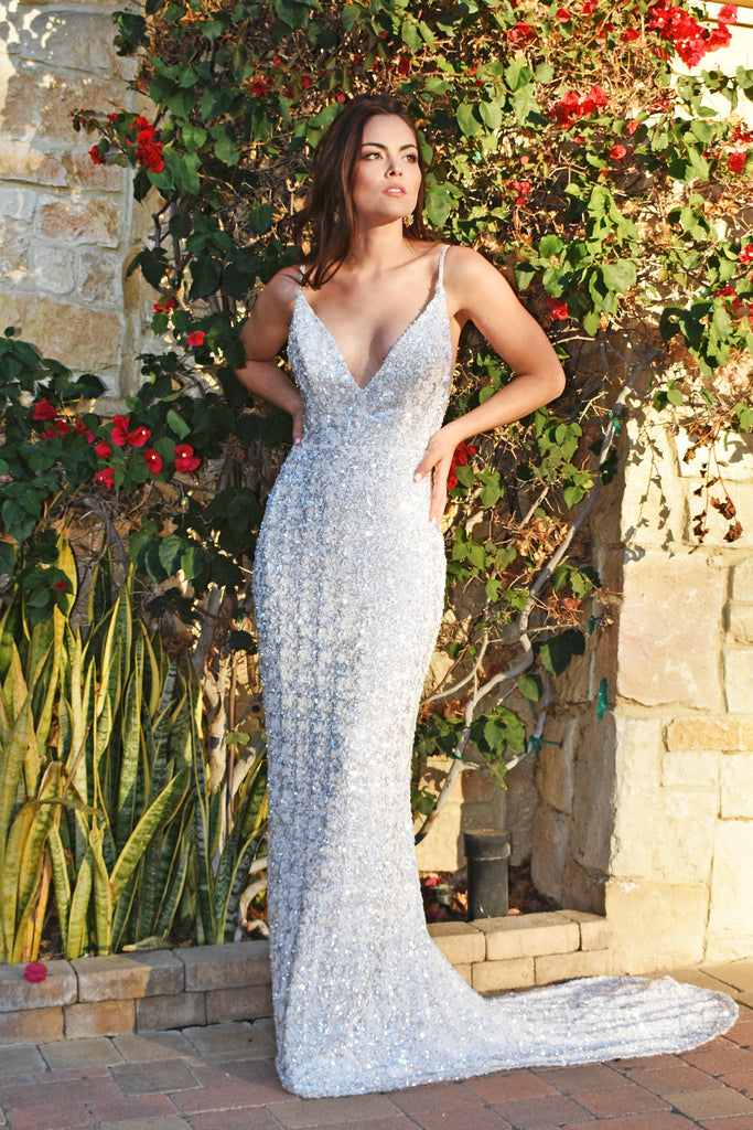 white low back sequins dress
