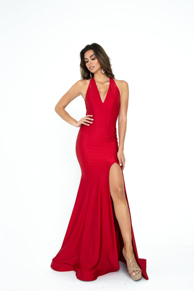 atria 6309h red halter long prom dress