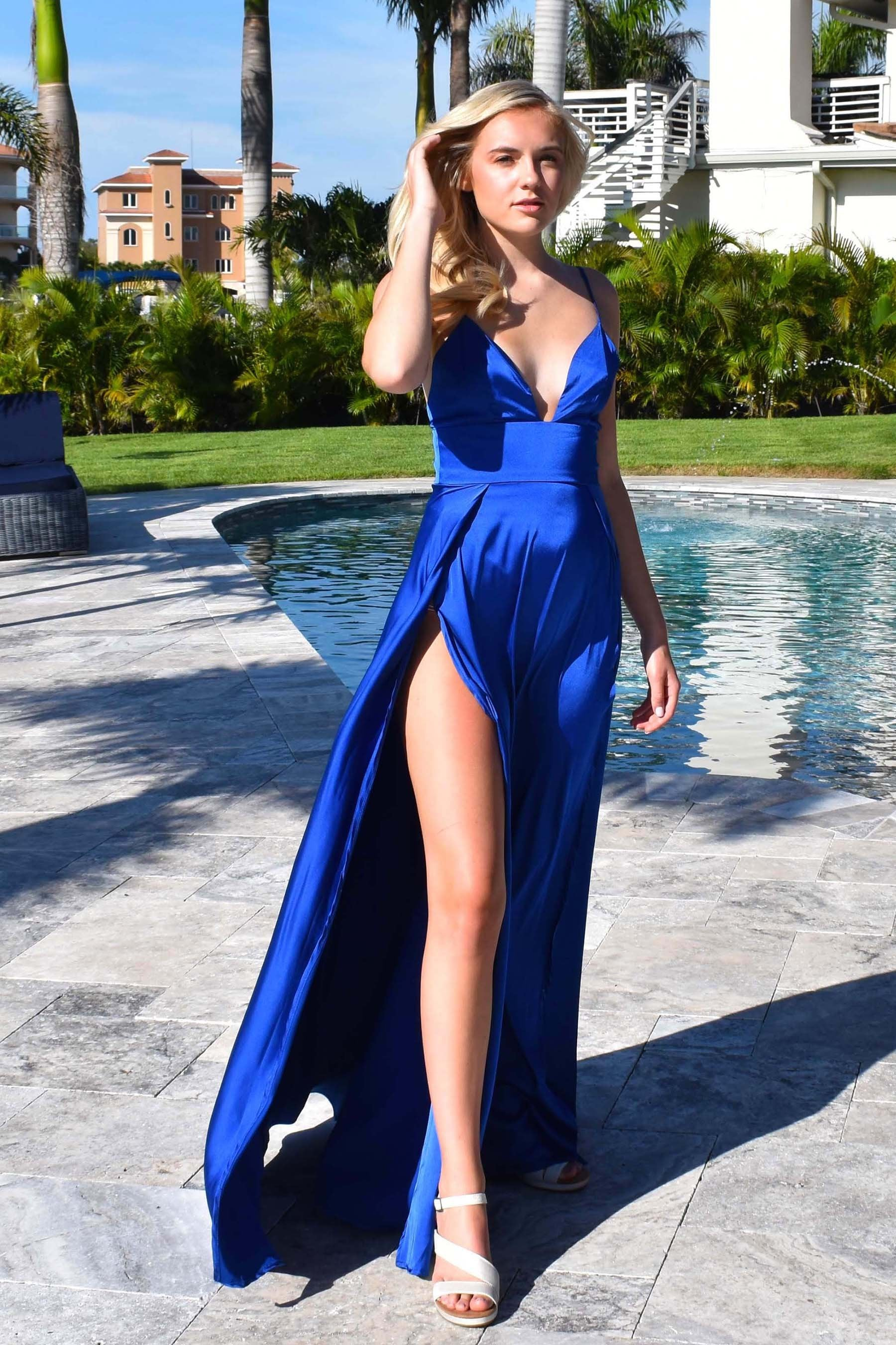 royal blue ibiza two slit prom dress