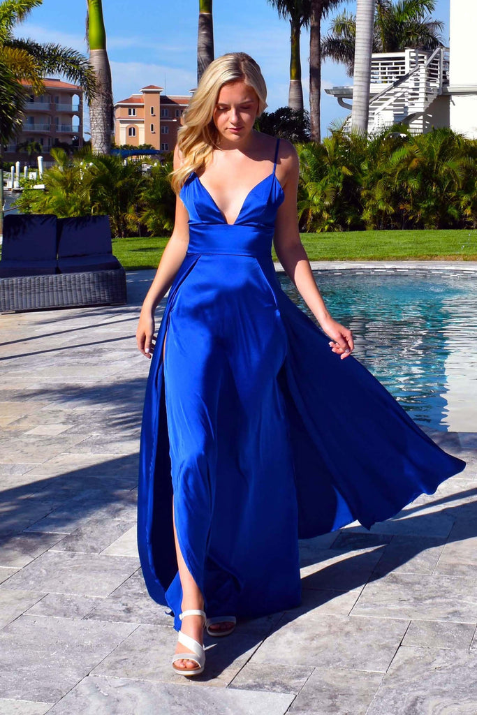 royal blue sexy 2 slit prom dress