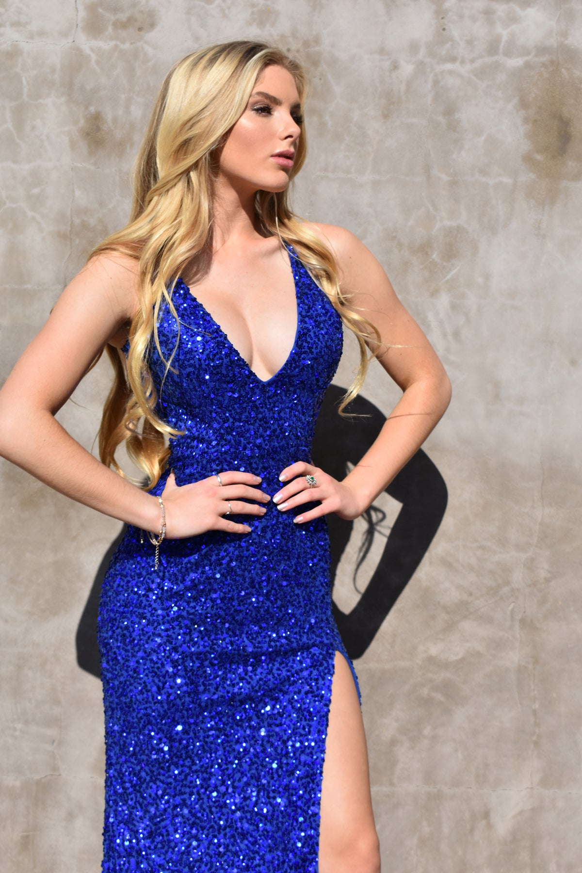 sexy low back royal blue prom dress