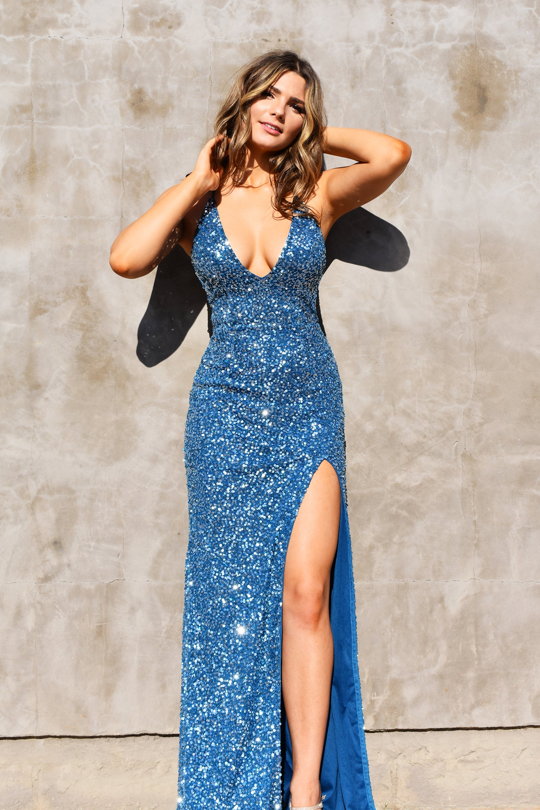 low back teal blue sequins prom dress