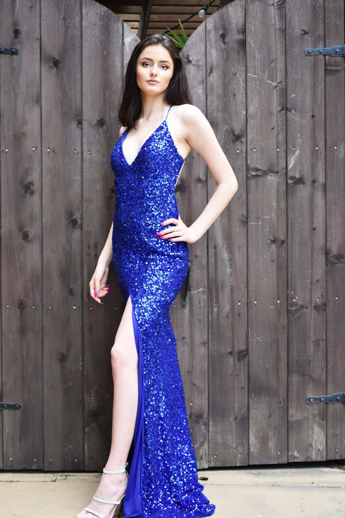 royal blue fitted sequin prom dress