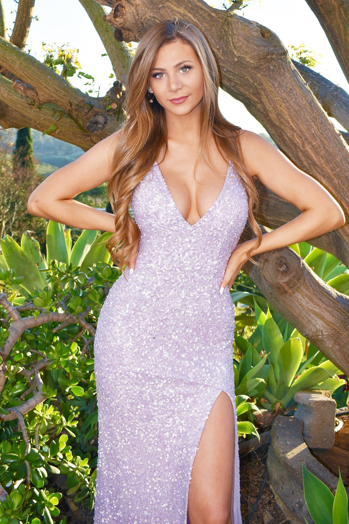 low back lilac sequins prom dress rene the label