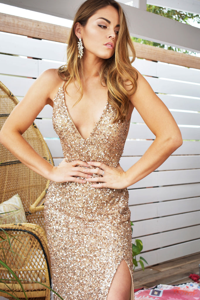 bronze sequin dress