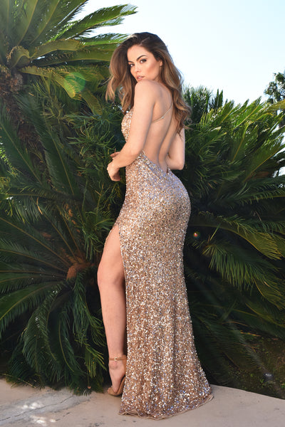 low back gold sequins prom dress