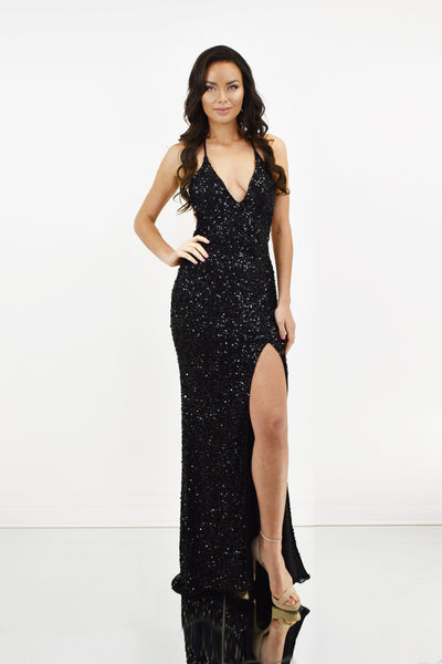 rene the label sequins beaded sexy long dress