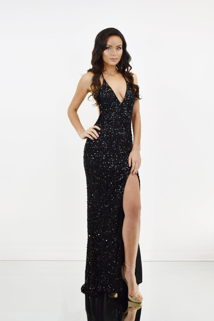 beaded sequin prom dress with low back prom
