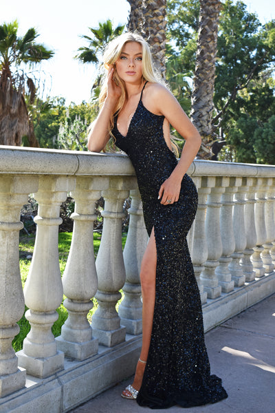 low back black sequins prom dress