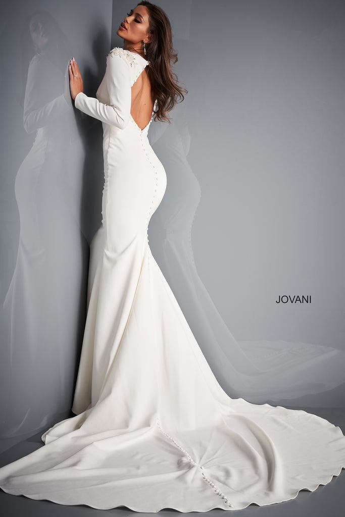 Jovani JB2508 long sleeve bridal gown