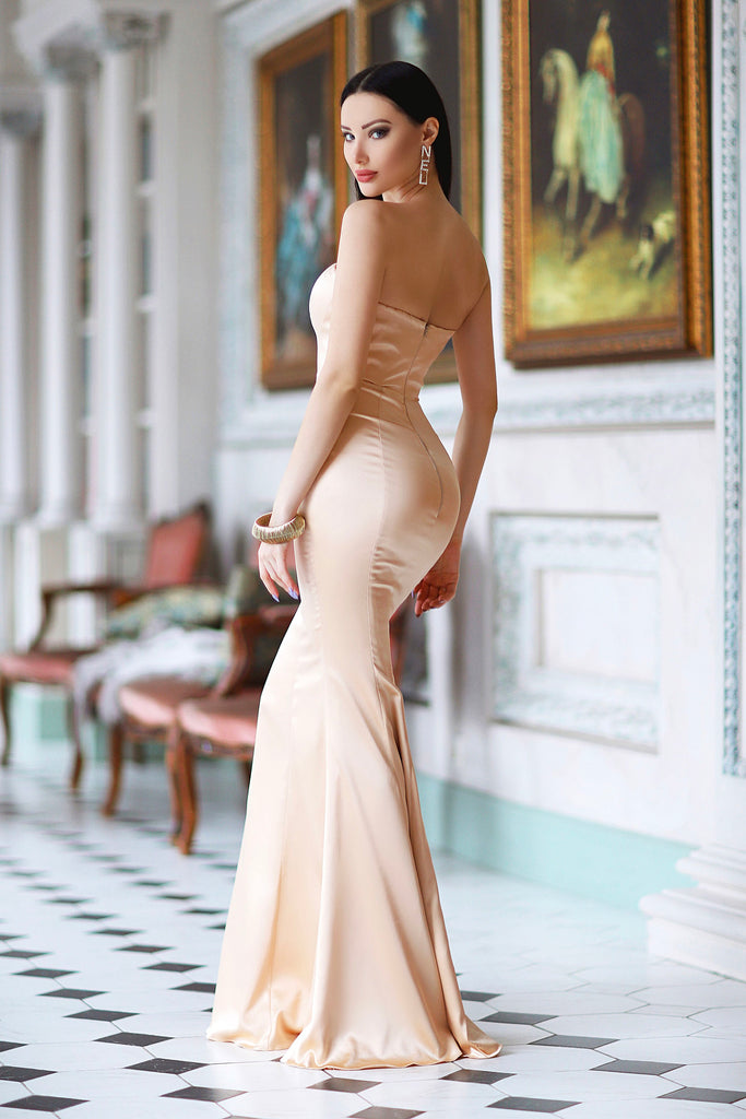 strapless champagne bridesmaid dress