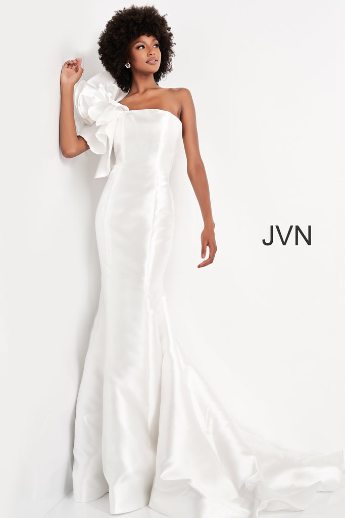 Jovani JVN00650 white one shoulder