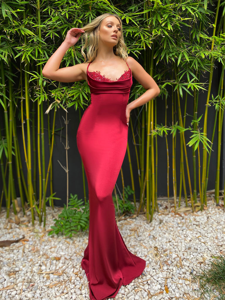 Jadore Australia JX5027 red satin dress