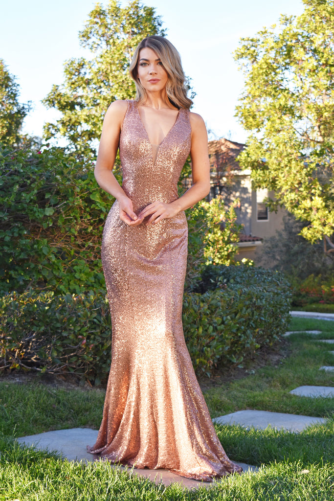 rose gold stretch sequins bridesmaid dress