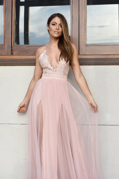 rene the label blush pink tulle prom dress