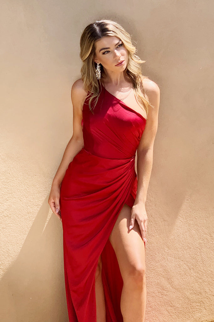 Jasper gown red satin one shoulder dress