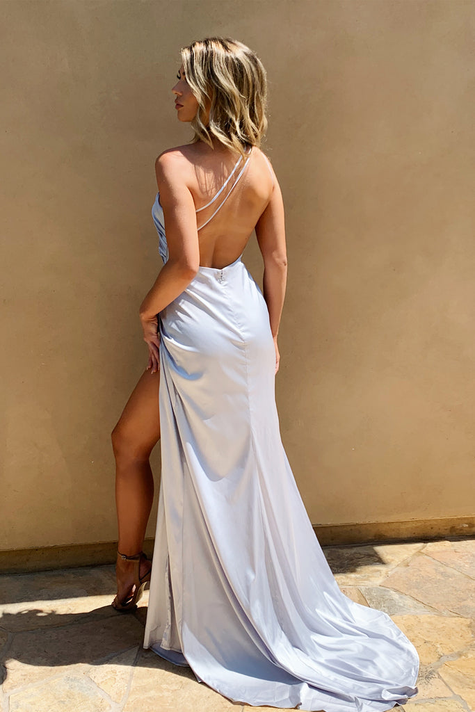 Jasper silver satin one shoulder dress