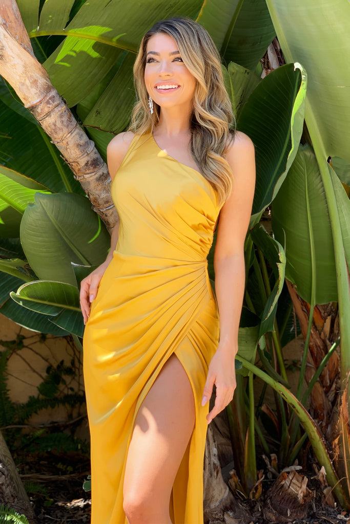 Jasper yellow satin one shoulder