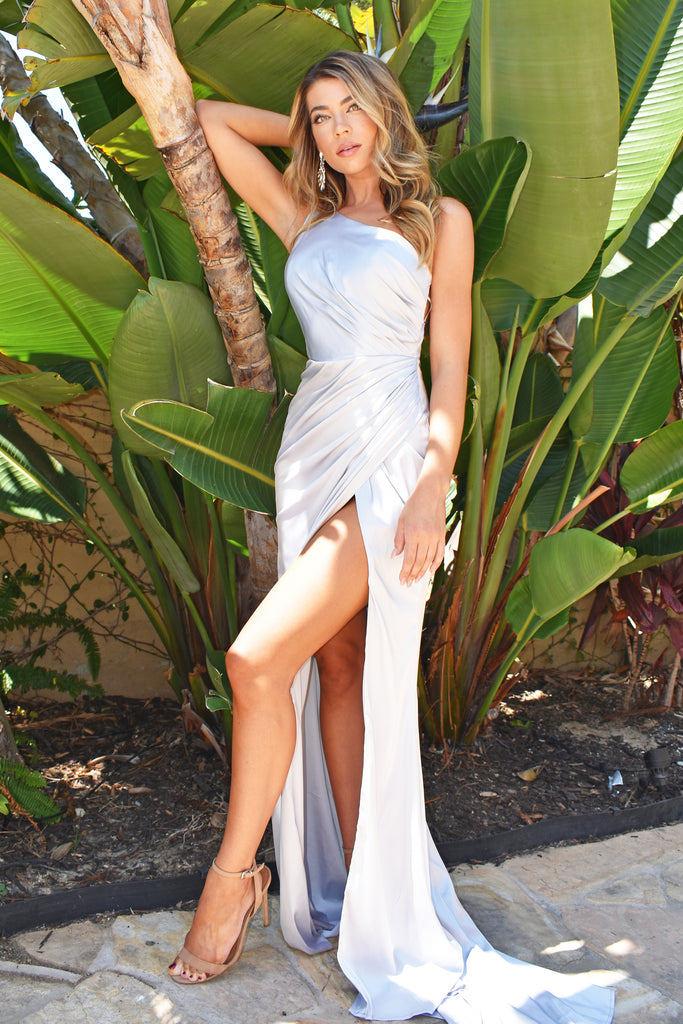 silver one shoulder satin dress