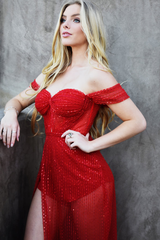 sexy red bustier prom dress