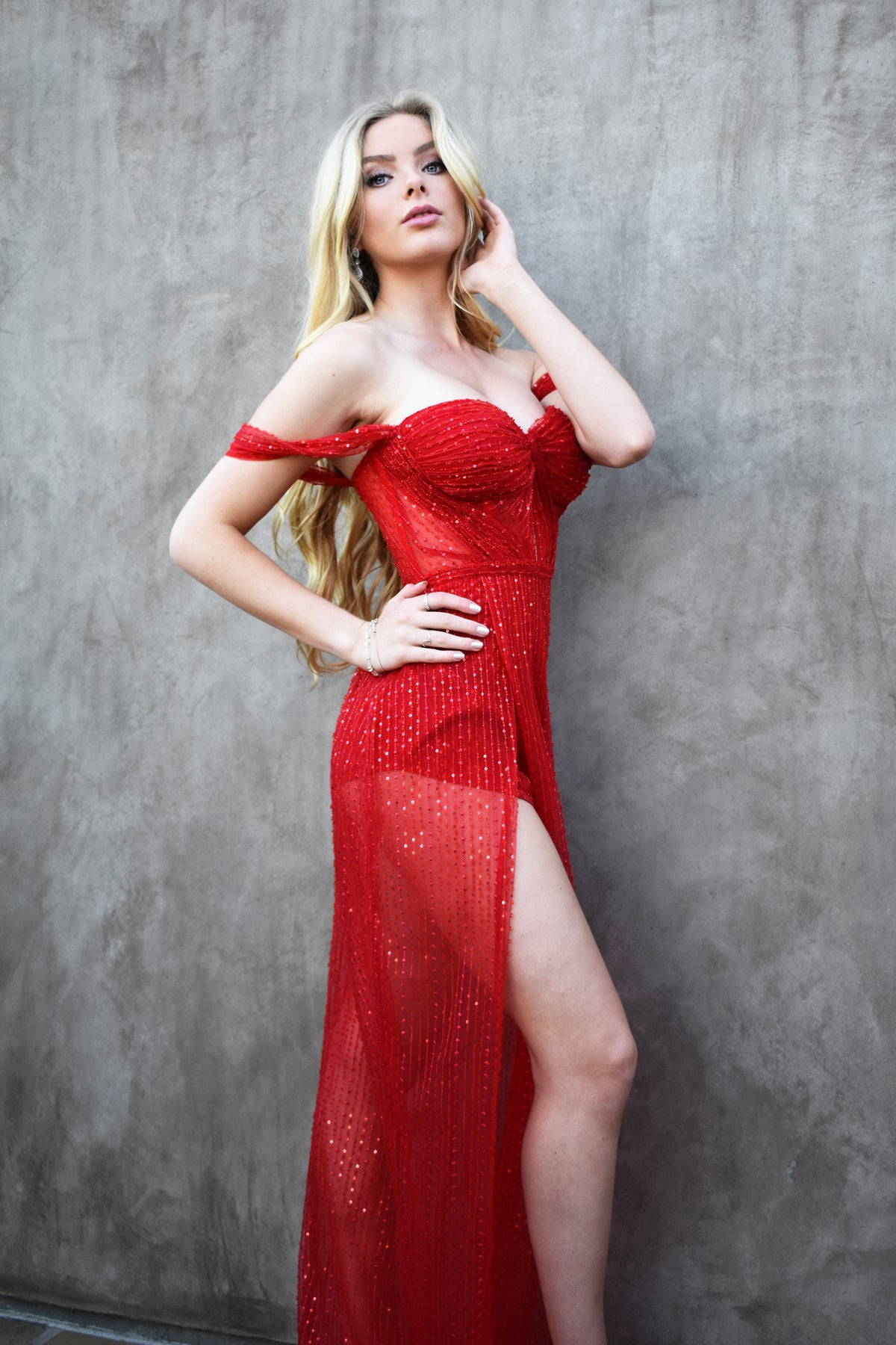 Jocelyn gown red bustier prom dress